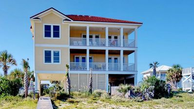 """Photo for Ready after Hurricane Michael! You'll love it! Beachfront with Private Pool and Beach Boardwalk! Wi-Fi, 5BR/4.5BA """"Toes In The Water"""""""
