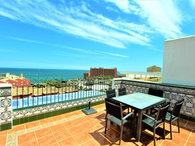 Photo for PENTHOUSE WITH SEA VIEWS, SWIMMING POOL, AC, FREE PARKING, WIFI AND BBQ. BEACH AT 200M.