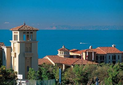 On a clear day you can see Catalina Island and the Palos Verdes Penisula