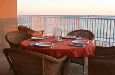 Dine and relax on oversized balcony, enjoy the sunsets and boats coming back in.