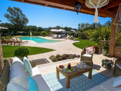 Photo for Alghero Villa 2 km from the sea. Air conditioning WiFi Games Barbecue 5 bathrooms