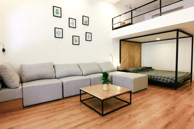 Nice big couch for you and your friends to lounge on