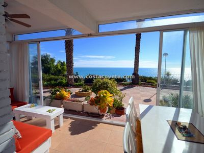 Photo for FRONT-LINE BEACH APARTMENT, GROUND FLOOR, AIRCO, AMAZING VIEWS
