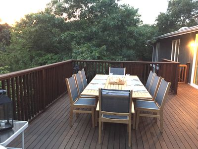 A view of the deck, which has a retractable awning (not shown) for shade