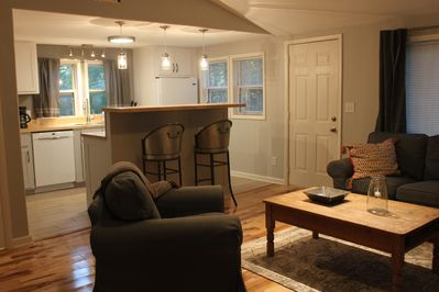 Cathedral ceilings and open floor plan offer plenty of room for hospitality.