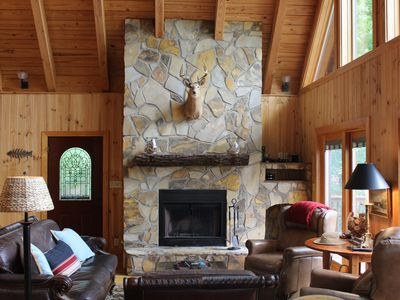 Photo for Lakefront Cabin With Multiple Outdoor Spaces, Fire Pit & Kayaks