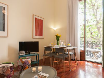 Photo for Rambla Catalunya Trendy apartment in Eixample Dreta with WiFi, air conditioning, shared terrace, ba…