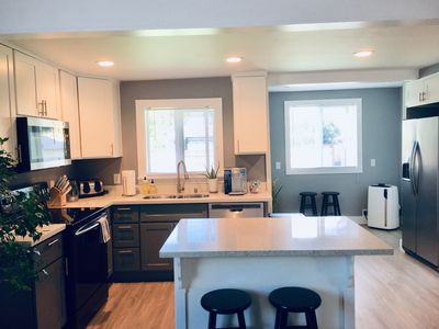 Well appointed kitchen with basic supplies for cooking meals.