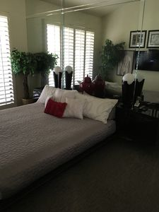 """Master suite - Cal King size bed with 55"""" flat screen"""