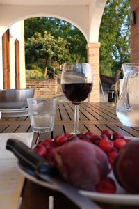 The loggia is a lovely place to eat lunch or dinner - please eat our cherries!
