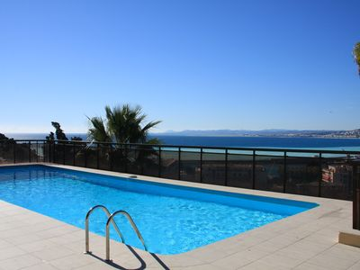 Photo for Air Conditioned Apartment with Panoramic Sea Views, Communal Pool