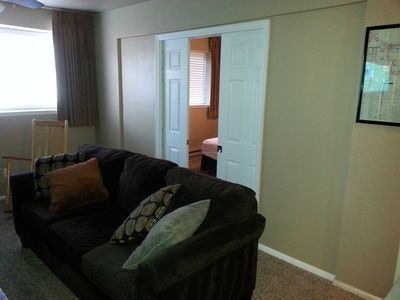 Pocket sliders to separate the bedroom from the living room for your privacy.