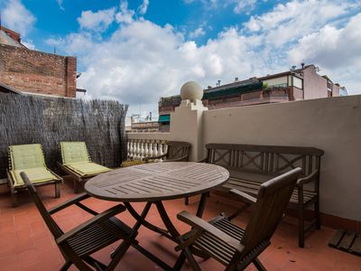 Photo for 2BR apartment with HUGE TERRACE @ Sagrada Familia