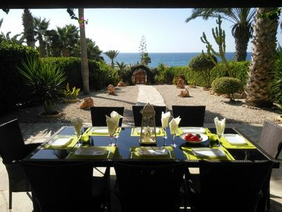 Photo for 4 bed spacious villa, sea facing, seconds from the beach, amazing roof terrace