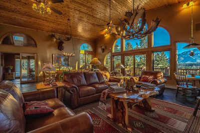Great Room is the focal point for gathering with fabulous Pikes Peak views