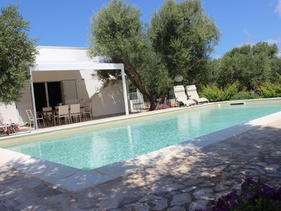 Photo for Villa with private pool in an olive grove, 3 km from the coast & Torre Guaceto