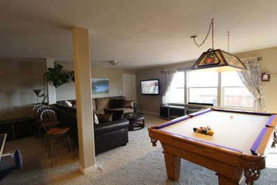 Pool Table and sitting area, all remodeled