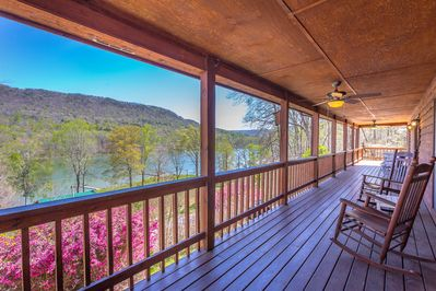 Spring view as you enter wrap around porch looking over TN river in Gorge.