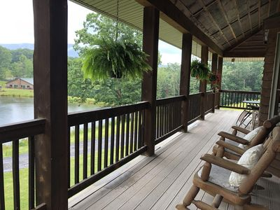 Photo for Log Lodge overlooking lake with mountain views