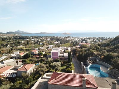 Photo for Bodrum Yarbasan stone houses with wonderful sea view, garden and privet pool