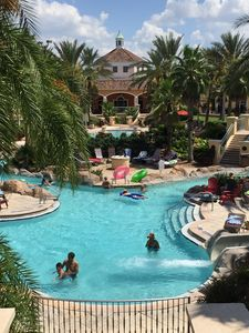 Backside pool with water slide exit