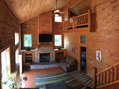 Photo for Hilltop Log Cabin -10 Secluded Acres, Hot Tub, Pet Friendly, Free WiFi, Fire Pit