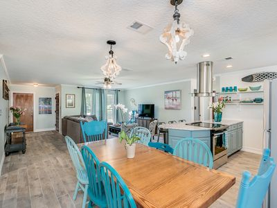 Photo for The Blue Fin Bungalow- Coastal Comfort & Beauty. 1 Block to the Beach -Sleeps 10