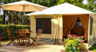 Photo for Camping les Calquieres **** - Furnished 3-room canvas bungalow for 4 people (no private facilities)