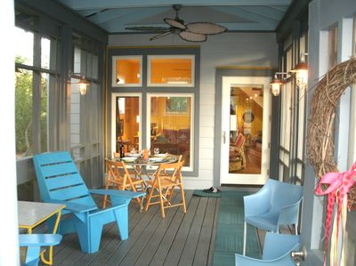 listen to the surf or the summer rains from the spacious old style screen porch