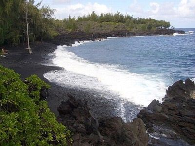 Kehena Black Sand Beach across the street and down the trail just  3 minute walk