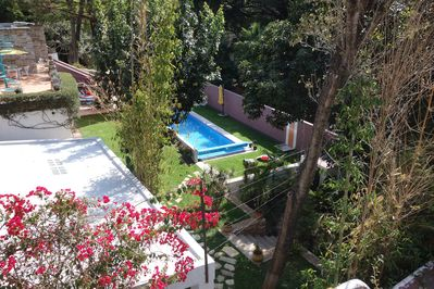 The pool and garden from the casita roof terrace