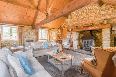 Granary Living area with Log Burner
