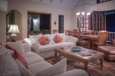 The great room is a wonderful evening gathering space with TV & instant Netflix.