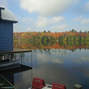 Fall colours with new deck on boathouse - 2014