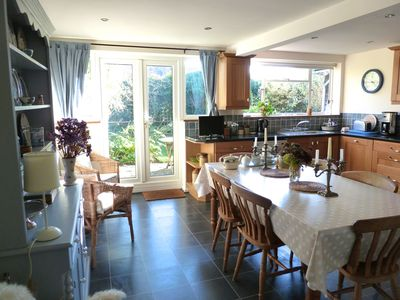 Patio doors lead from the kitchen to the garden