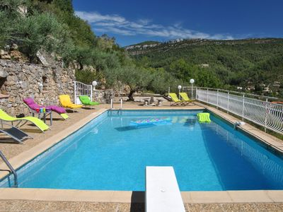 Photo for Villa 200 m2 large pool exceptional view near the beaches of Pradet and Hyères