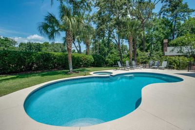 Large, private pool and spa are the hub of the outdoor living space and can be heated for additional cost