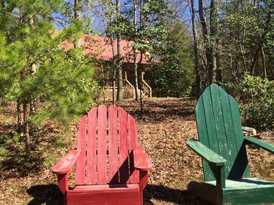 Just steps from our Piney Pond Adirondack Contemplation Area.