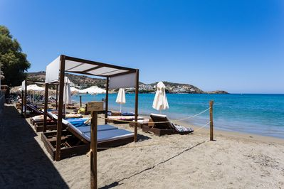 Private gazebos and sun beds are available at the beach for our guests!