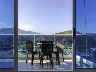 Photo for Apartment with incredible sea view and private beach for up to 4 people