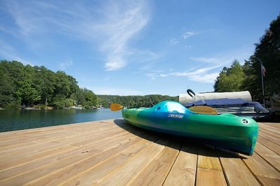 Fun all year! 4 kayaks, 4 aqua bikes, 3 paddle boards and a canoe, all included.