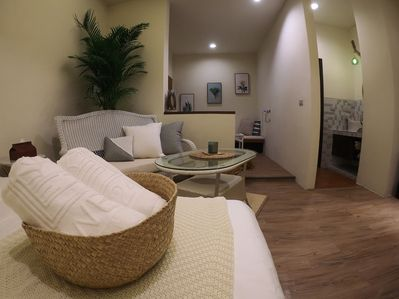 1 couching area and a rattan chair with our beautiful towels!