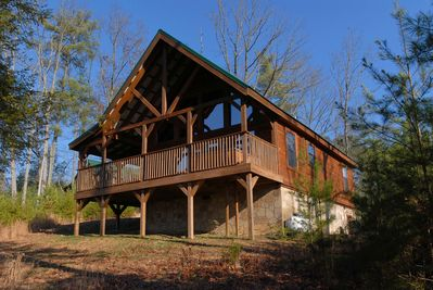 WOW!! WHAT A CABIN #255- Outside View of the Cabin - Great mountain views, easy access, and privacy with an acre of wooded land!