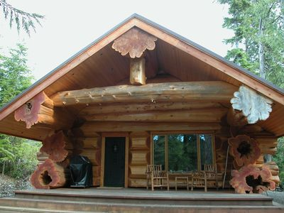 Photo for Florencia Bay Hideaway ~ Luxury Log Cabin ~ Hot Tub ~ Walk to Secluded Beaches