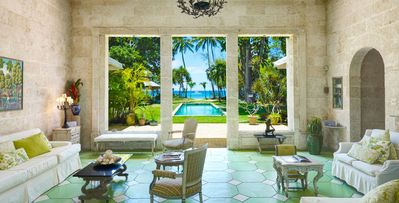6 bedroom villa surrounded by gardens on a half-mile of blue beach