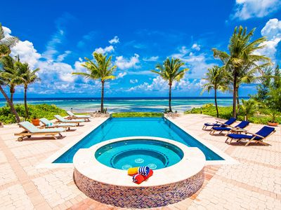 Photo for Blue Water Villa: Luxe Coastal Villa in Famous Rum Point with Pool & Jacuzzi