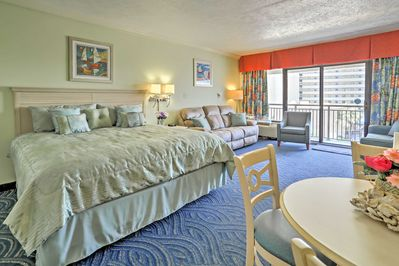 Up to 4 guests will enjoy the coastal decor and ample natural light inside.