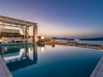 Photo for Amazing Villa Akrotiri Santorini, 5 Bedrooms, 4 Bathrooms, Private Pool, Up to 12 Guests, Amazing View to Caldera and Volcano !!