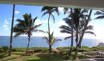 Breathtaking view from lanai; steps to the pool and secluded beach!