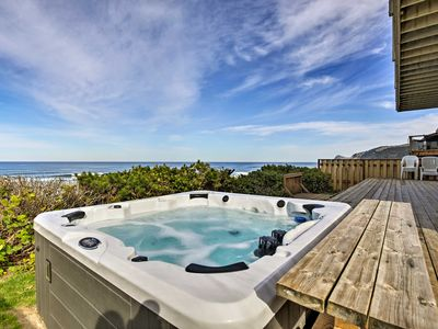 Photo for Oceanfront Lincoln City Home w/ Decks & Hot Tub!
